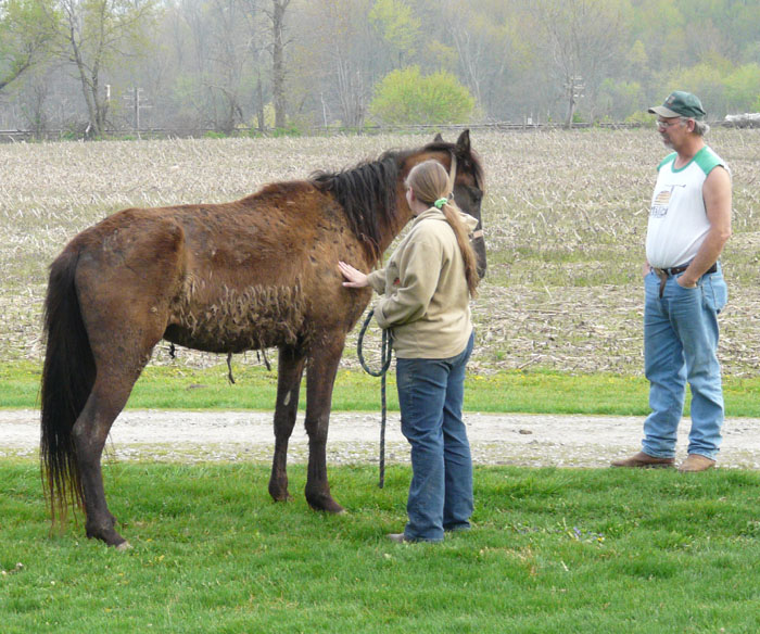 Millie and the author with hauler Jim Robinson on April Fool's Day, her arrival in Indiana. Photo by Ben Alcala